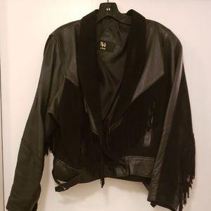 Vintage Black Leather Suede Fringe Jacket